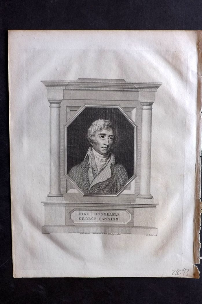 Lyttleton 1810 Antique Portrait Print. Right Honorable George Canning