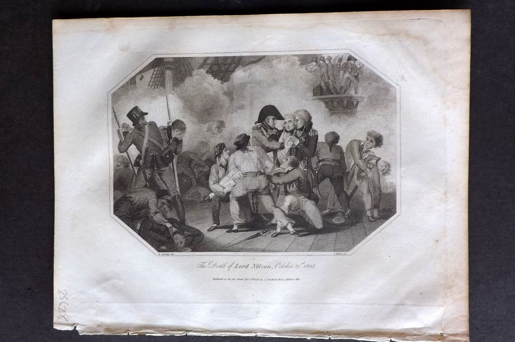 Lyttleton 1810 Naval Print. Death of Lord Nelson, October 12st 1805