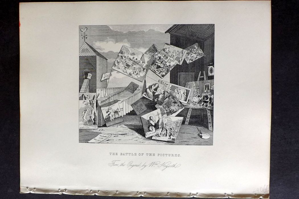 Hogarth C1860s Antique Print. The Battle of the Pictures