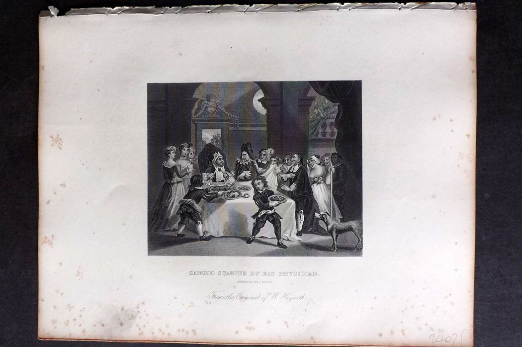 Hogarth C1860s Antique Print. Sancho Starved by his Physician