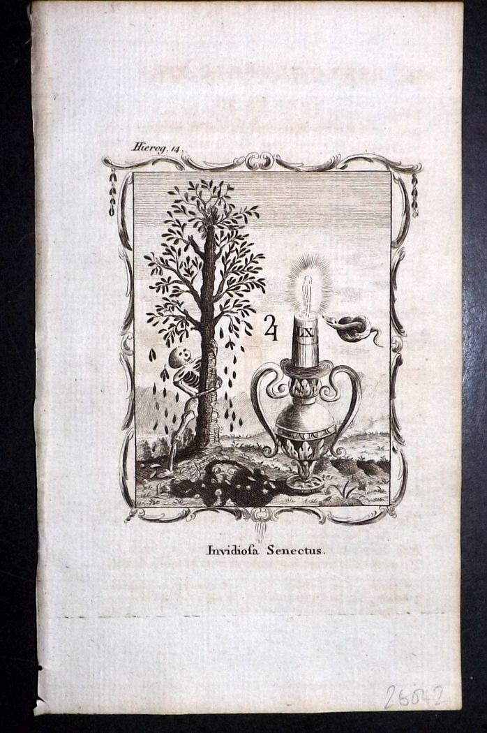 Francis Quarles Emblems 1777 Antique Print 02 Skeleton