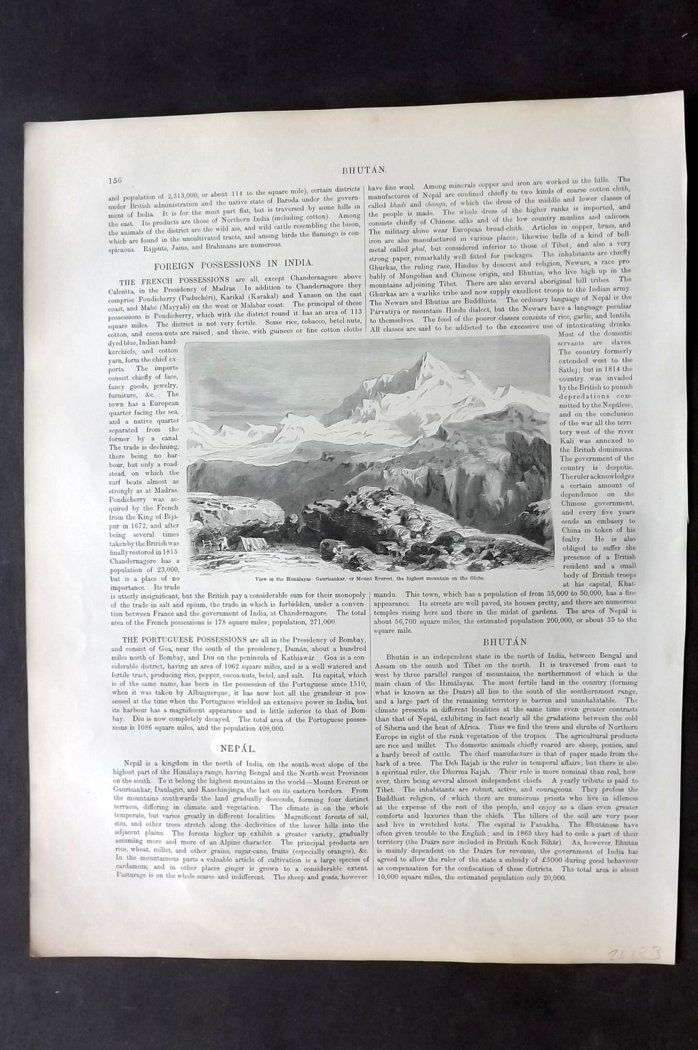Blackie 1882 Print. View in the Himalayans: Gaurisankar, Mount Everest Nepal