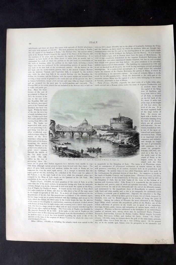 Blackie 1882 Antique Print. Rome, with the Castle of St. Angelo & St. Peter's. Italy