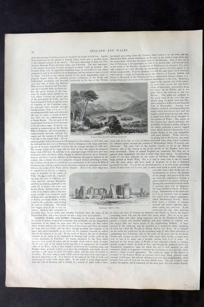 Blackie 1882 Antique Print. Derwent Water, Lake District & Stonehenge
