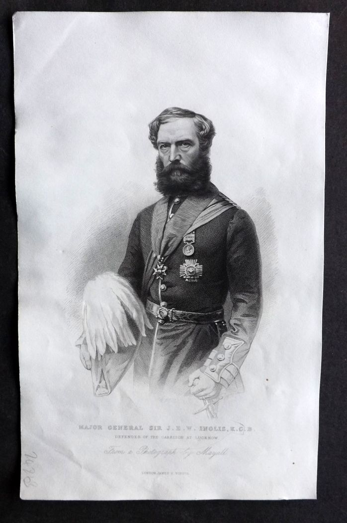 Nolan - India C1880 Antique Portrait Print. Major General J. E. W. Inglis