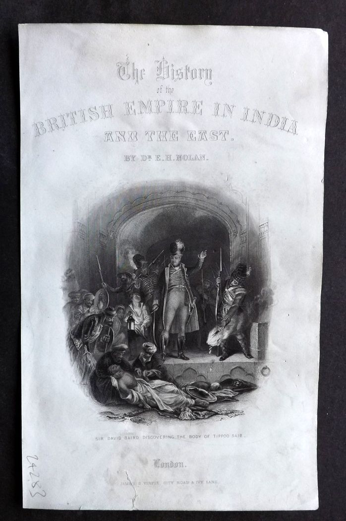 Nolan - India C1880 Antique Print David Baird discovering the body of Tipoo Saib
