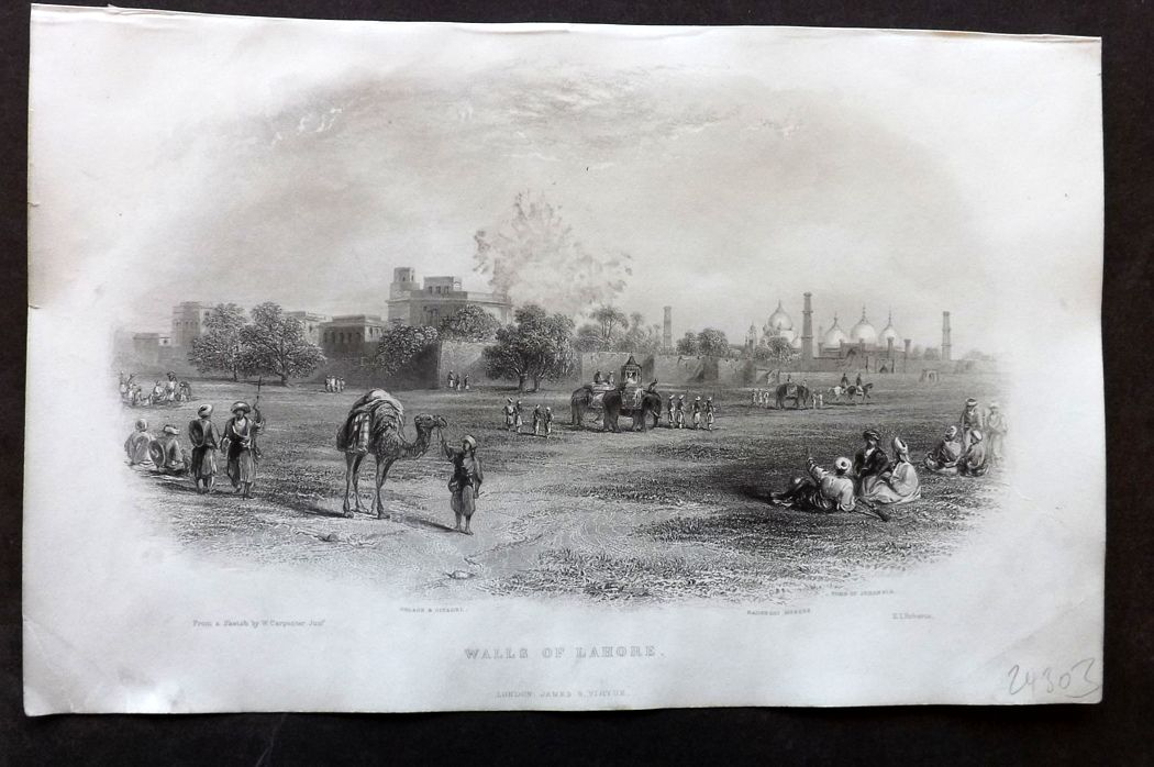 Nolan - India C1880 Antique Print. Walls of Lahore