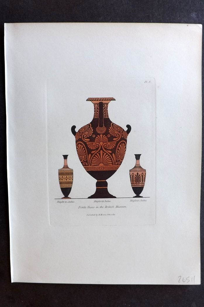 Moses 1840's Antique Hand Col Print. Fictile Vases in the British Museum 08