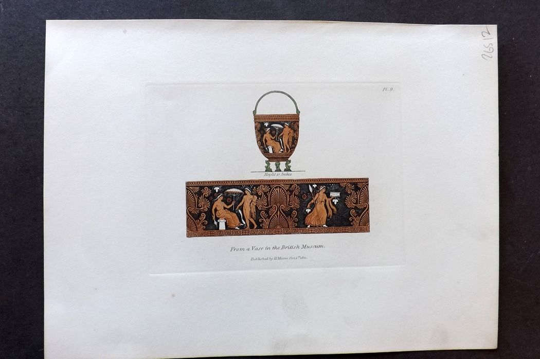 Moses 1840's Antique Hand Col Print. From a Vase in the British Museum 09