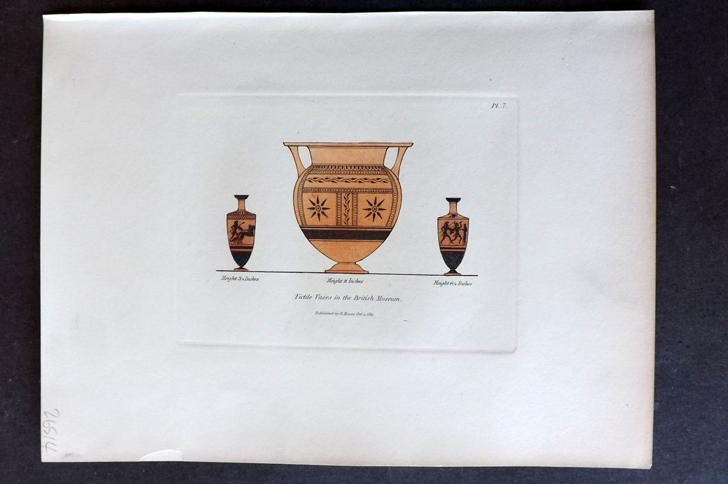 Moses 1840's Antique Hand Col Print. Fictile Vases in the British Museum 07