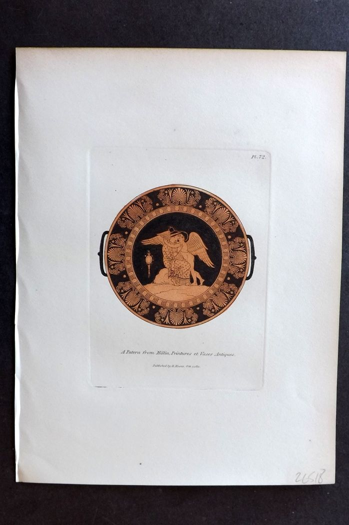 Moses 1840's Antique Hand Col Print. A Patera from Millin 72