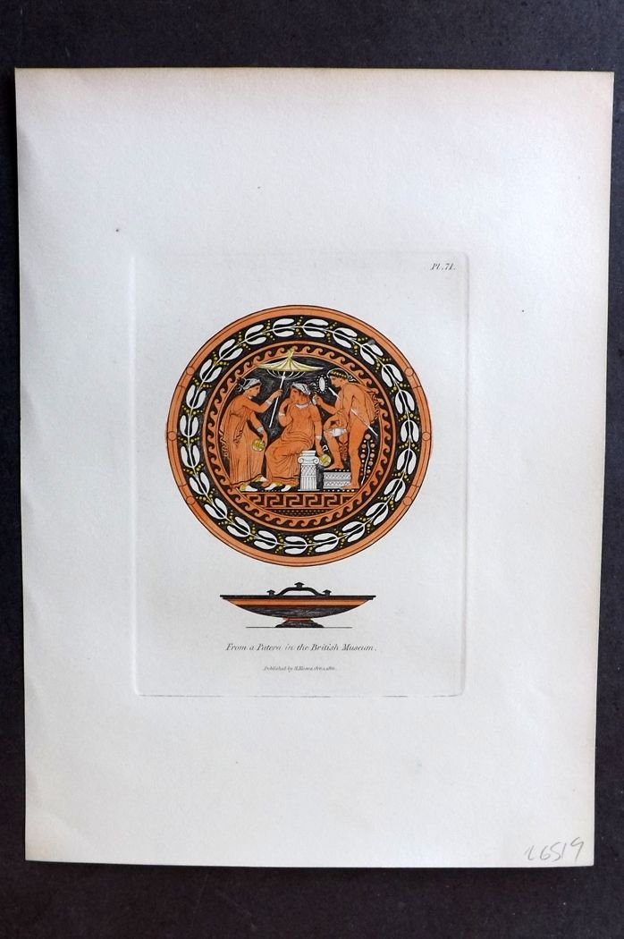 Moses 1840's Antique Hand Col Print. From a Patera in the British Museum 71