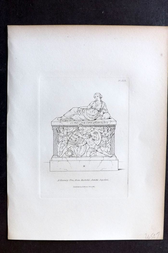 Moses 1840's Antique Print. A Cinerary Urn from Bartoli 123