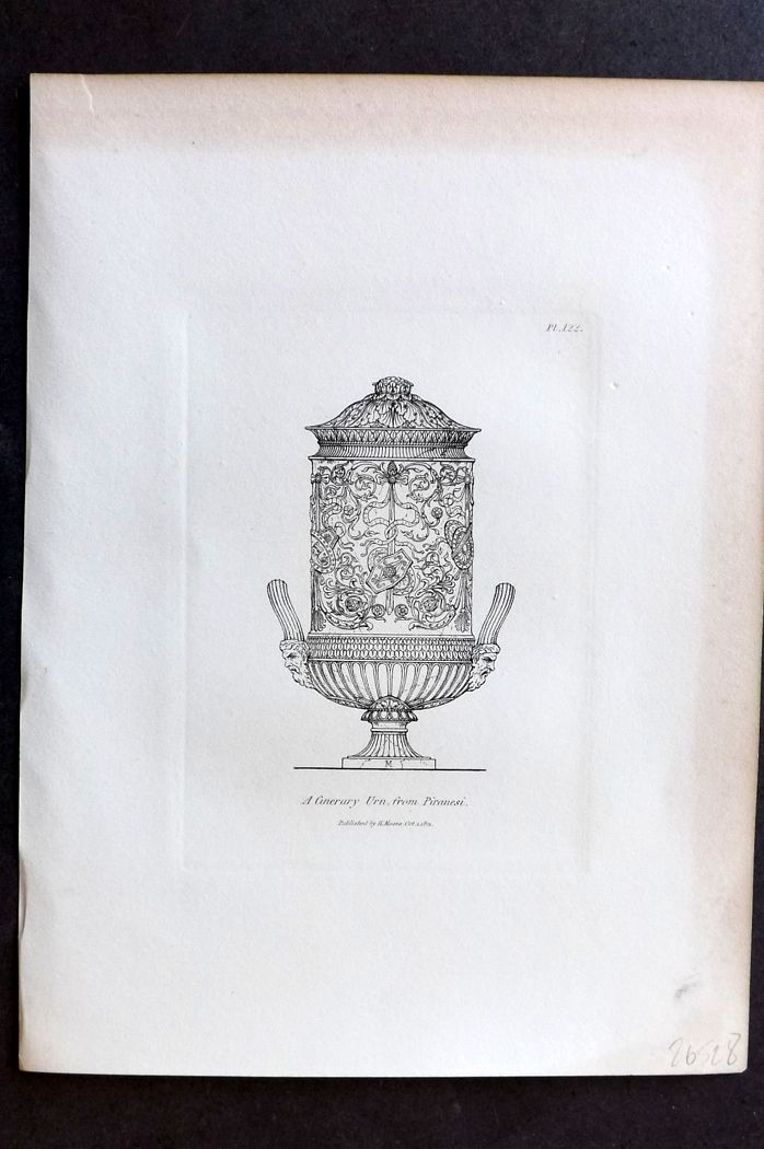 Moses 1840's Antique Print. A Cinerary Urn from Piranesi 122