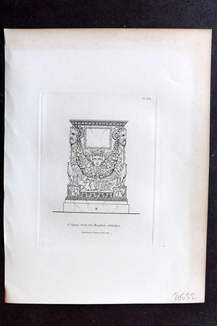Moses 1840's Antique Print. A Cippus from the Borghese Collection 101