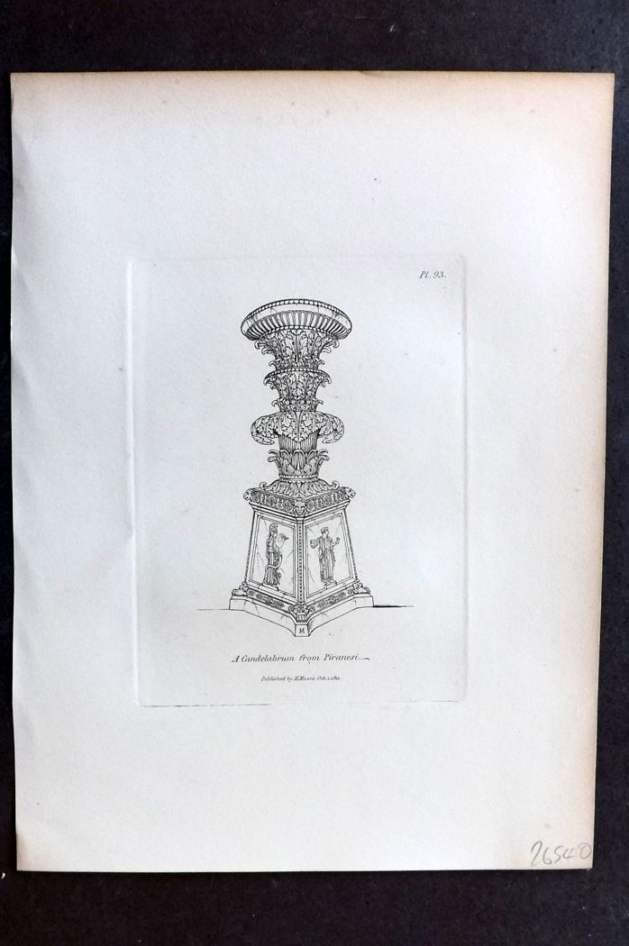 Moses 1840's Antique Print. A Candelabrum from Piranesi 93