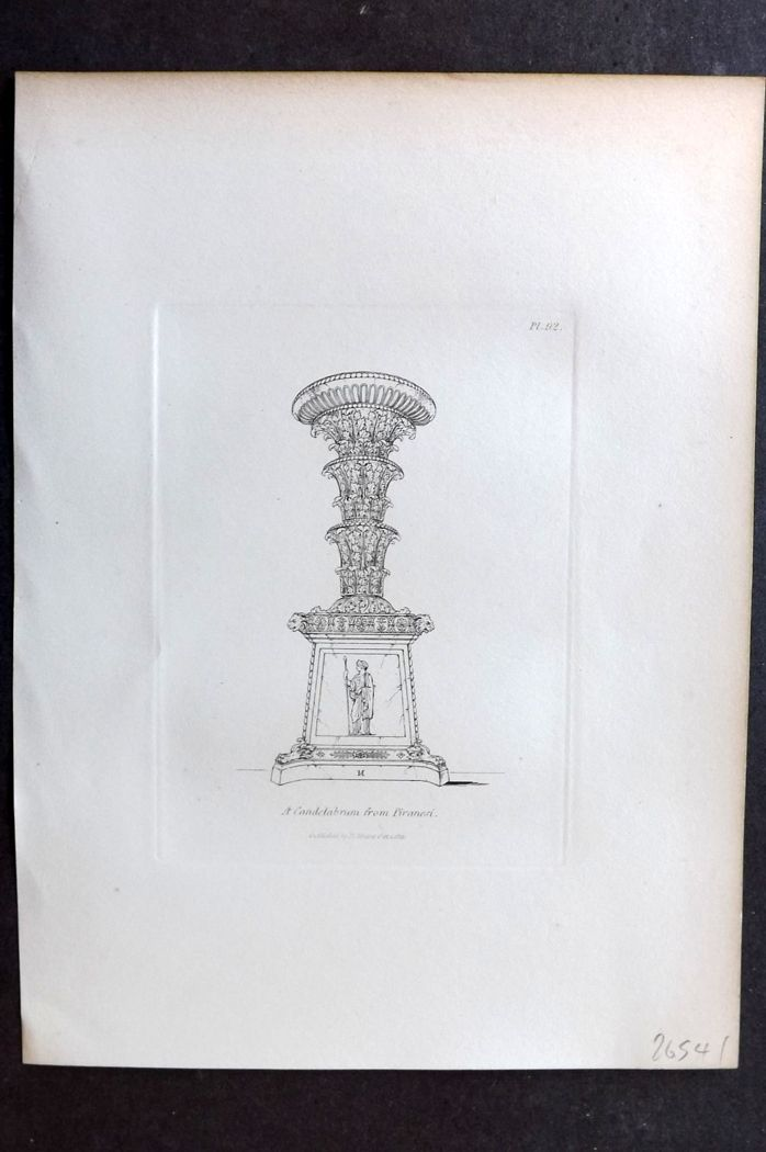 Moses 1840's Antique Print. A Candelabrum from Piranesi 92