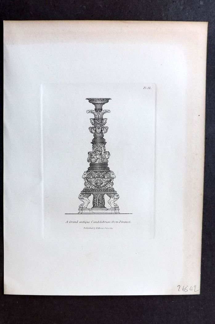 Moses 1840's Antique Print. A Grand Antique Candelabrum from Piranesi 91