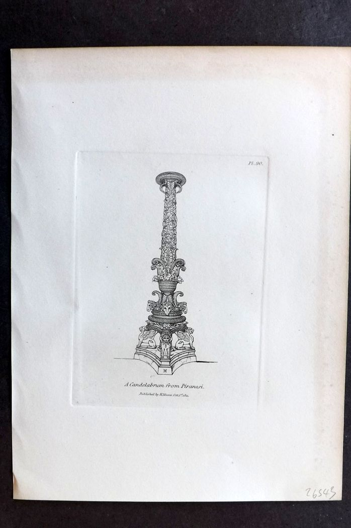 Moses 1840's Antique Print. A Candelabrum from Piranesi 90