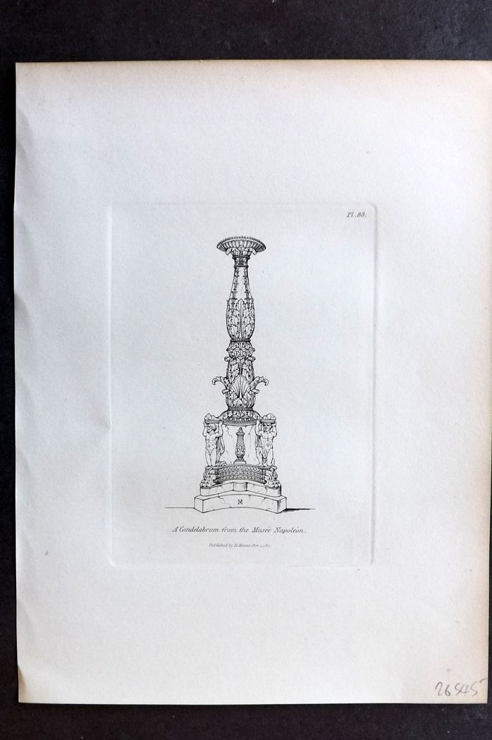 Moses 1840's Antique Print. A Candelabrum from the Musee Napoleon 88