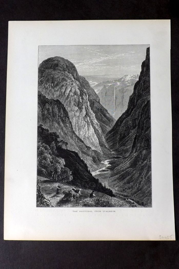 Picturesque Europe 1870s Antique Print. Naerodal from Stalheim, Norway