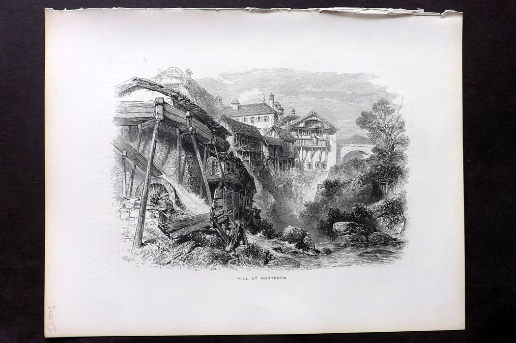Picturesque Europe 1870s Antique Print. Mill at Montreaux, Switzerland