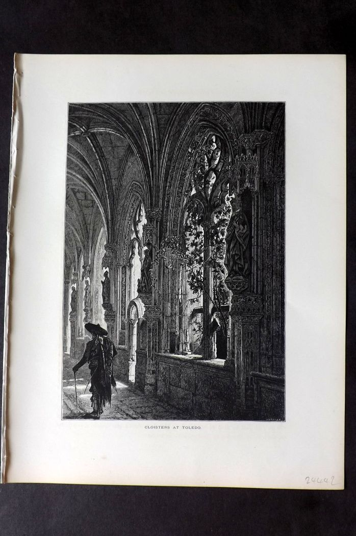 Picturesque Europe 1870s Antique Print. Cloisters at Toledo, Spain