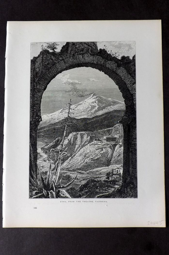 Picturesque Europe 1870s Print. Etna, from the Theatre, Taormina Sicily Italy