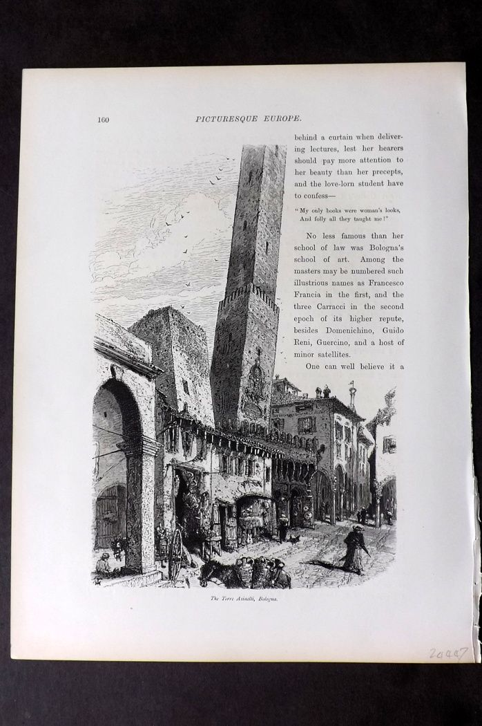 Picturesque Europe 1870s Antique Print. Torre Asinelli, Bologna, Italy