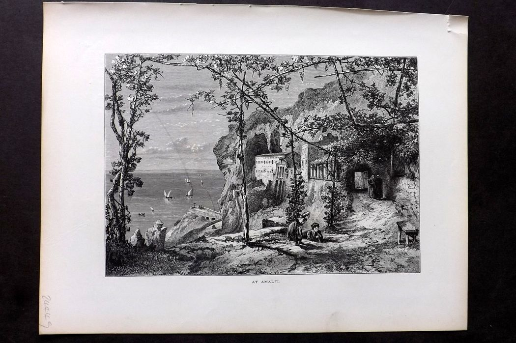 Picturesque Europe 1870s Antique Print. At Amalfi, Italy