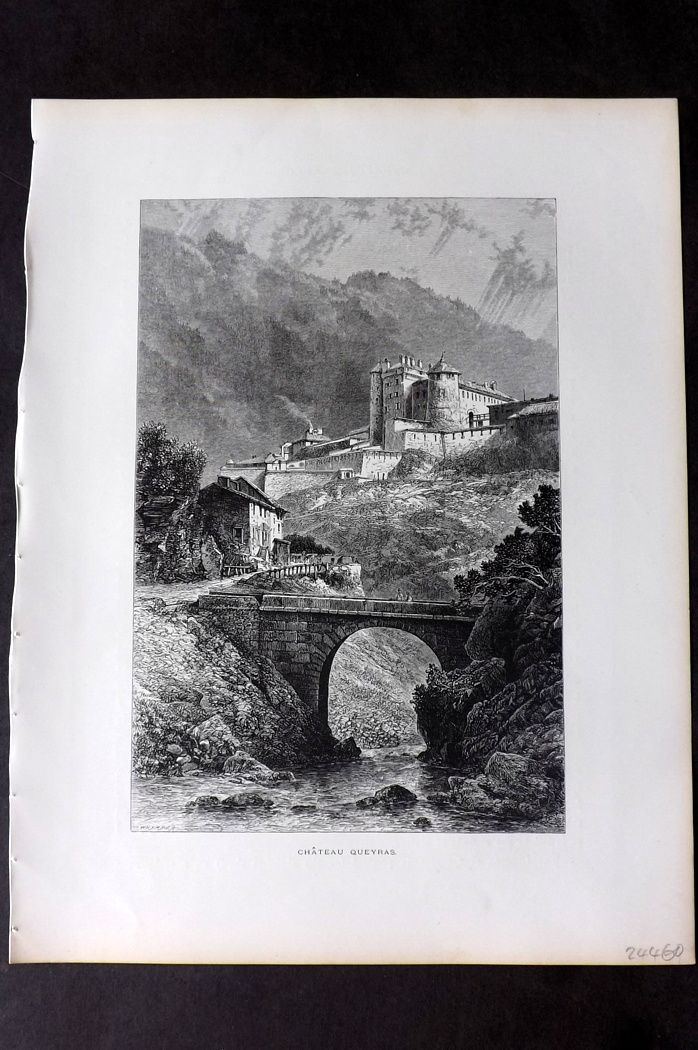Picturesque Europe 1870s Antique Print. Chateau Queyras, France