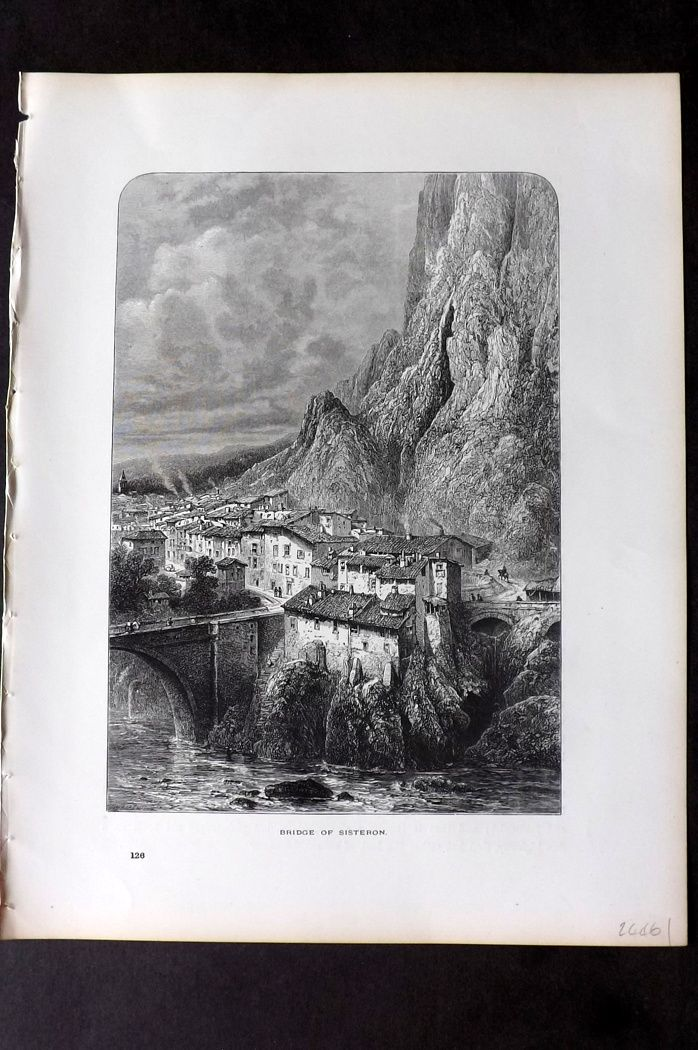 Picturesque Europe 1870s Antique Print. Bridge of Sisterton, France