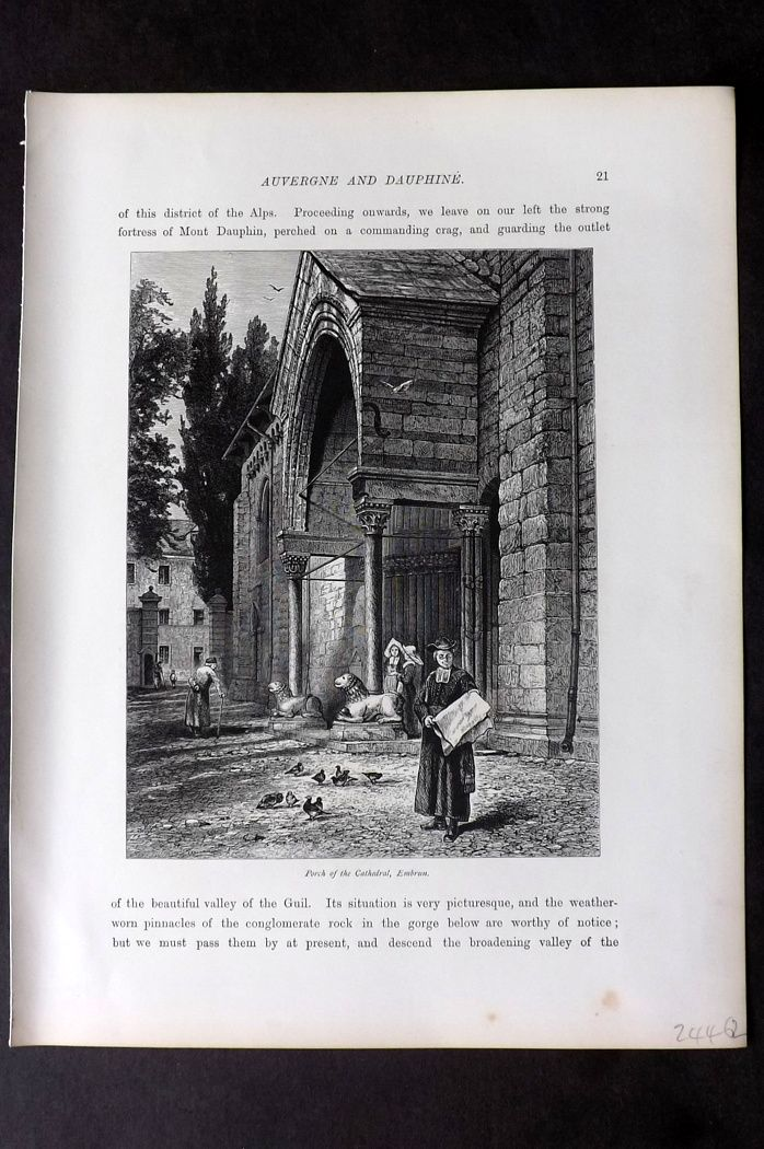 Picturesque Europe 1870s Antique Print. Porch of the Cathedral, Embrun