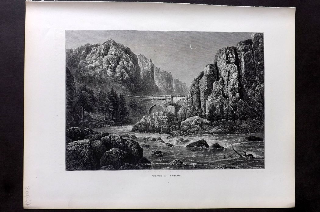 Picturesque Europe 1870s Antique Print. Gorge at Thiers, France
