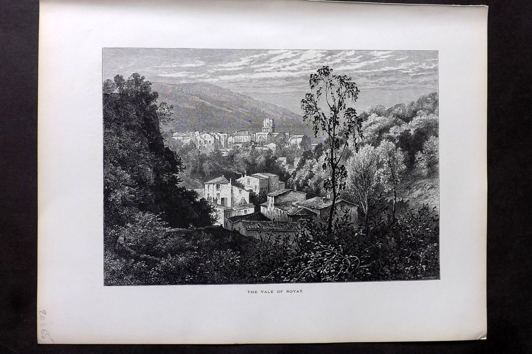 Picturesque Europe 1870s Antique Print. The Vale of Royat, France