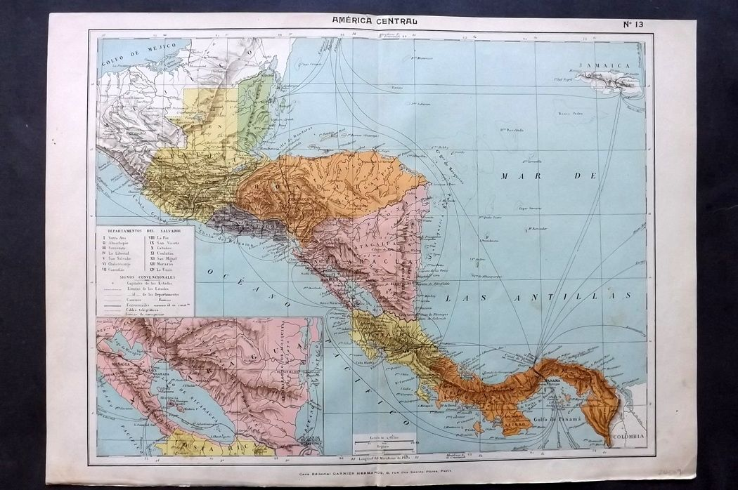 Estevanez C1910 Antique Map America Central