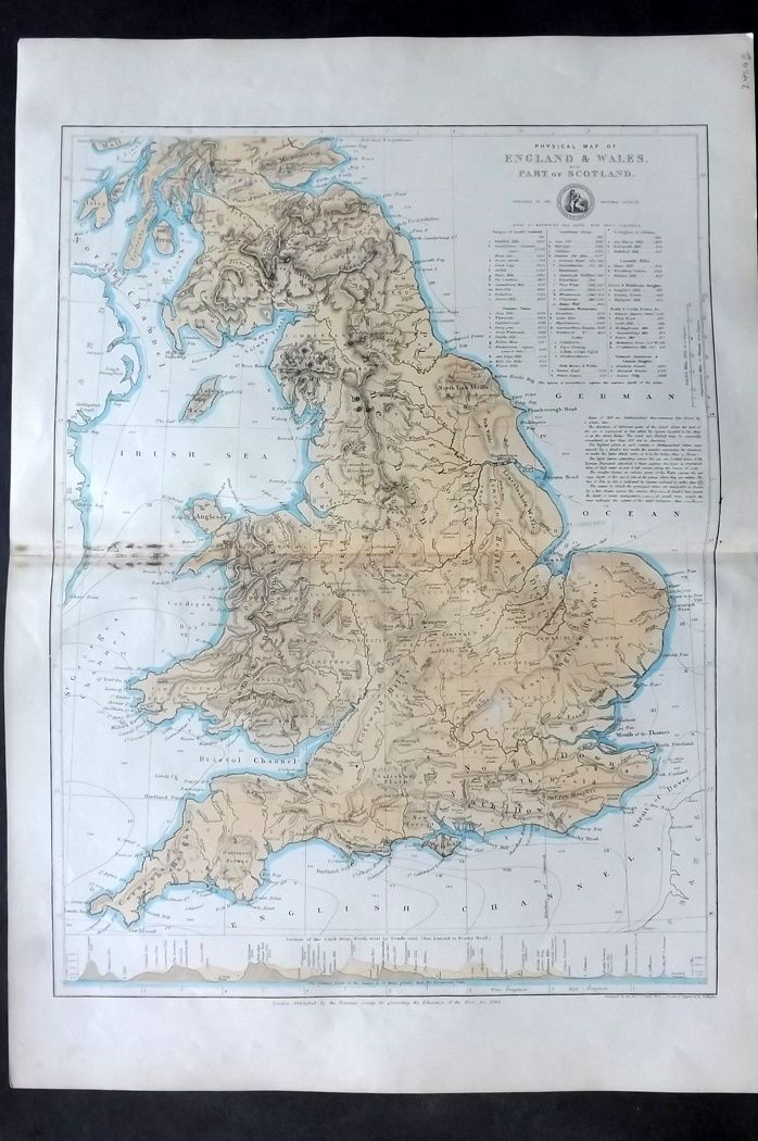 National Society C1870 Physical Map of England & Wales with Part of Scotland