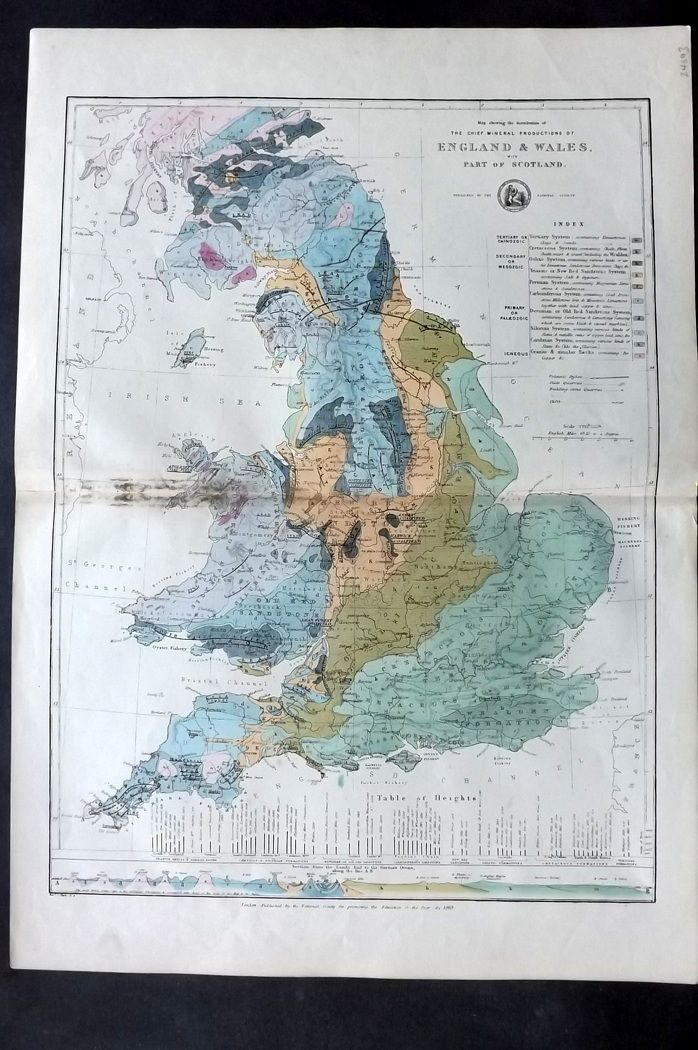 National Society C1870 Map. Chief Mineral Production of England & Wales