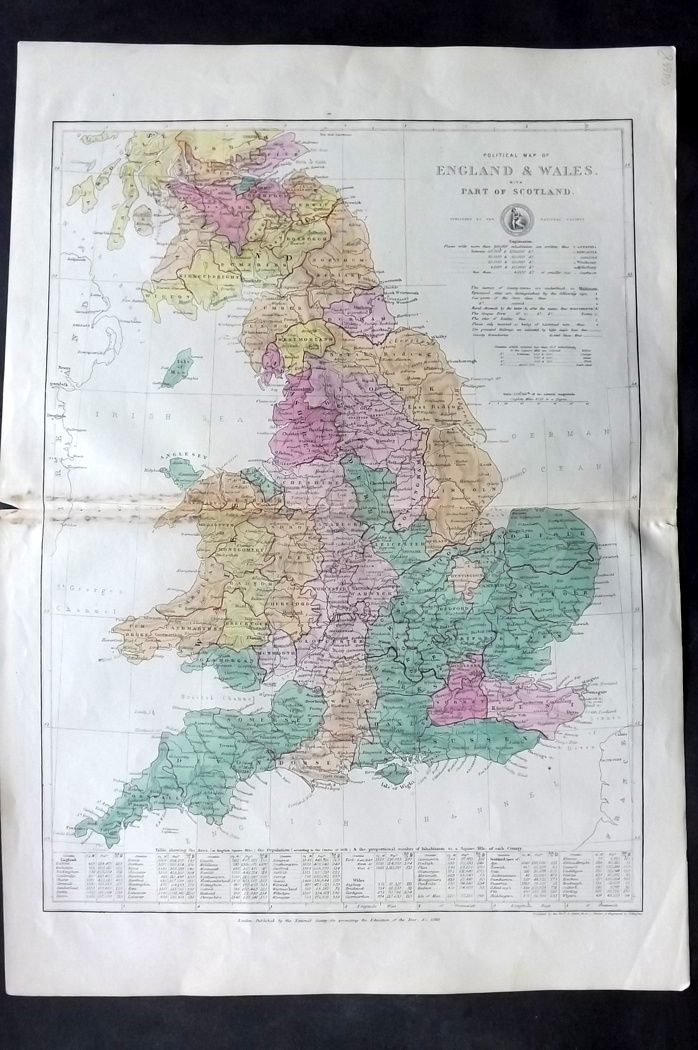 National Society C1870 Map. Political Map of England and Wales